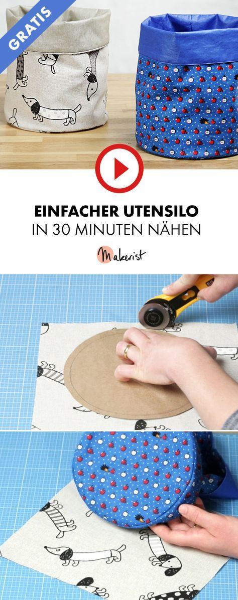 Utensilo nähen für Nähanfänger – Makerist auf Youtube #nähenmitmakerist #n… – Svenja Löffler
