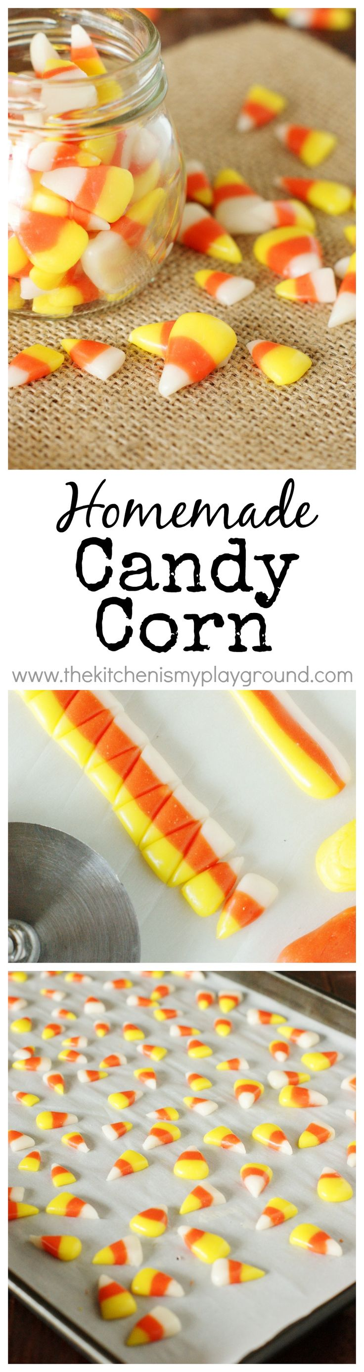 Homemade Candy Corn ~ make your very own homemade version of this iconic Halloween treat. www.thekitchenismyplayground.com: