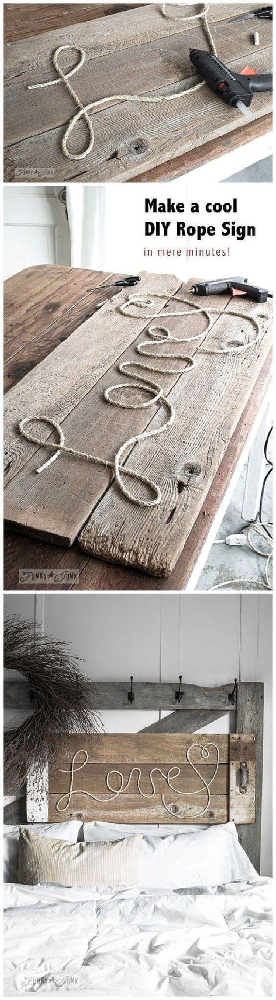 Machen Sie ein cooles DIY Seilschild … in wenigen Minuten! So cool … #c