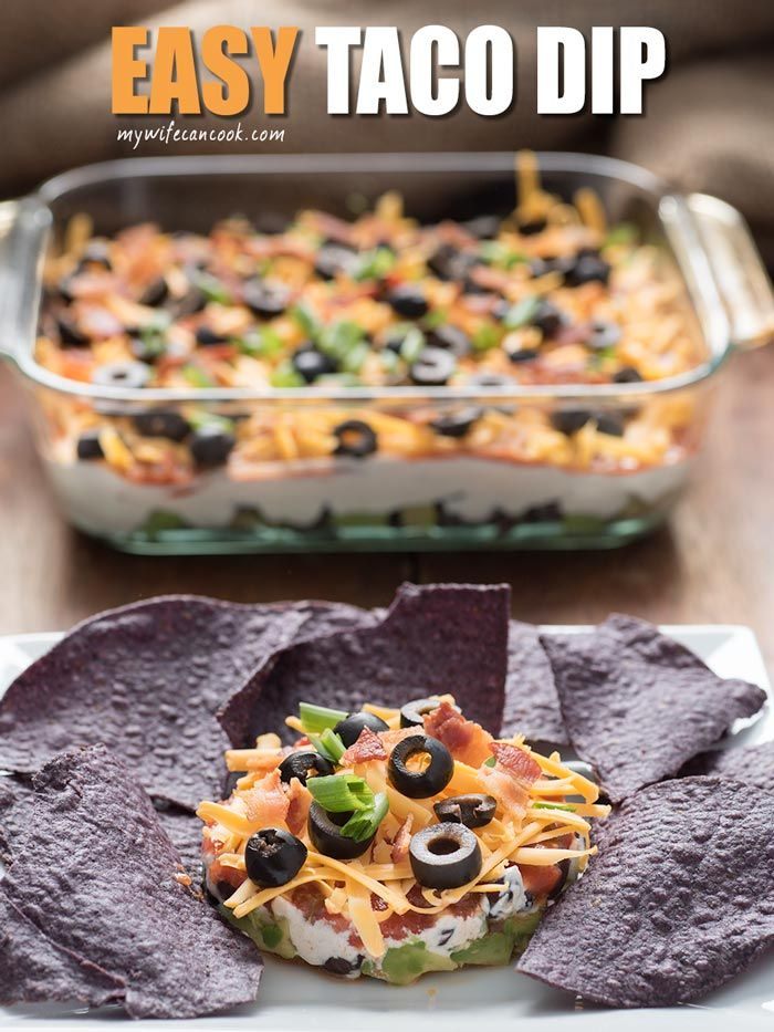 This easy taco dip recipe is a cold layered dip that requires absolutely no cooking! Just layer together the ingredients and go. It really is that easy.