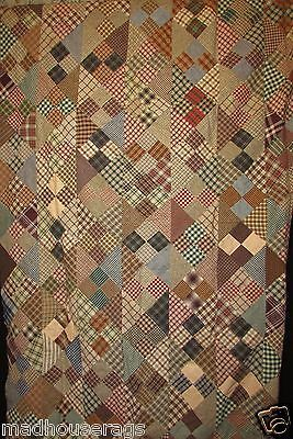 VIVID QUILT TOP WITH GINGHAMS, PLAIDS, SHIRTINGS, BROWNS, GREENS, BLUES