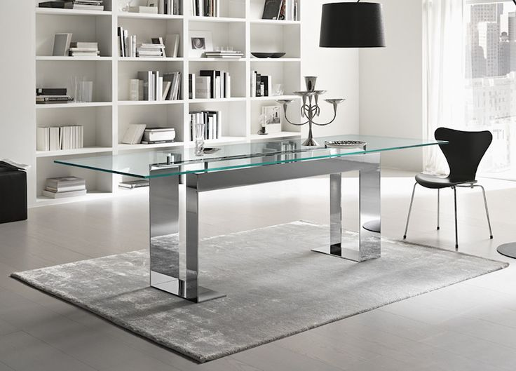 The Miles glass dining table is part of a range of glass furniture, glass tables & contemporary mirrors from Tonelli Design Italy. ➤ Discover the season's newest designs and inspirations. Visit us at  www.moderndiningtables.net #diningtables #homedecorideas #diningroomideas @ModDiningTables