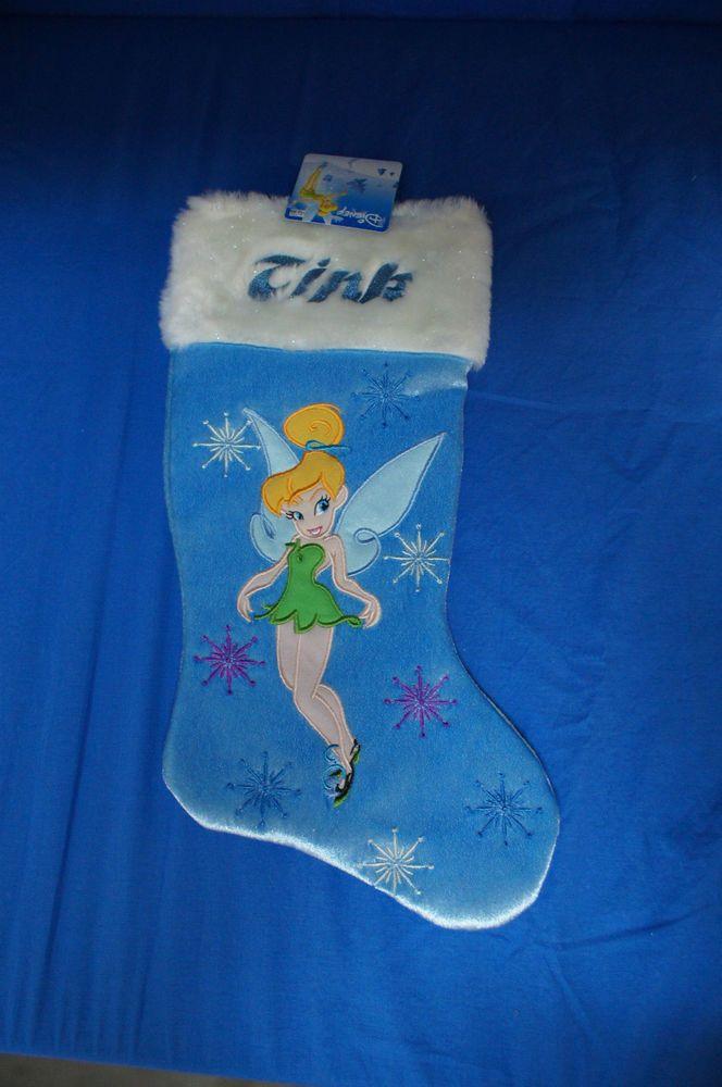 "Tinker Bell Blue 16"" Christmas Stocking Disney Peter Pan Tink"