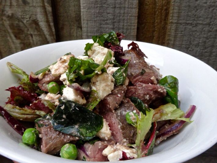 Sous Vide Minted Lamb with Pea and Feta Salad