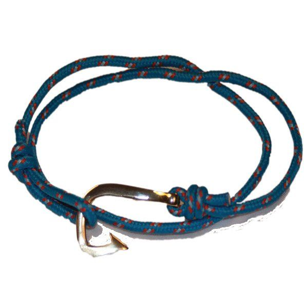 Fish hook Bracelet, Blue/Red Paracord, Gold Stainless Steel clasp | Nautination…