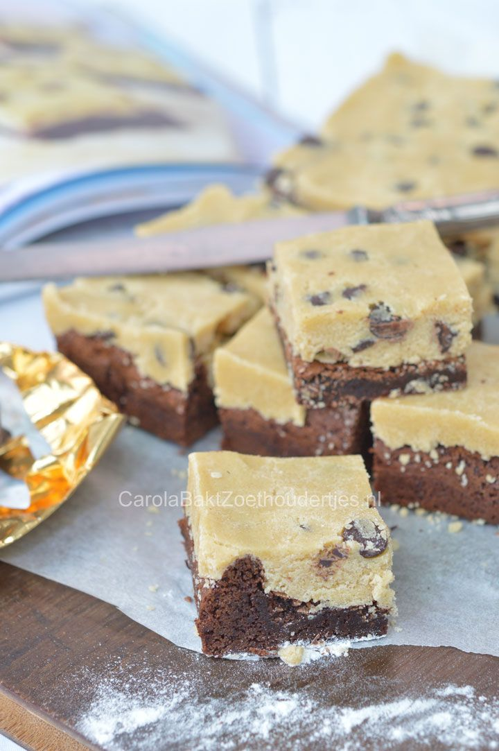 Cookie dough brownies uit Laura's Bakery Basisbakboek