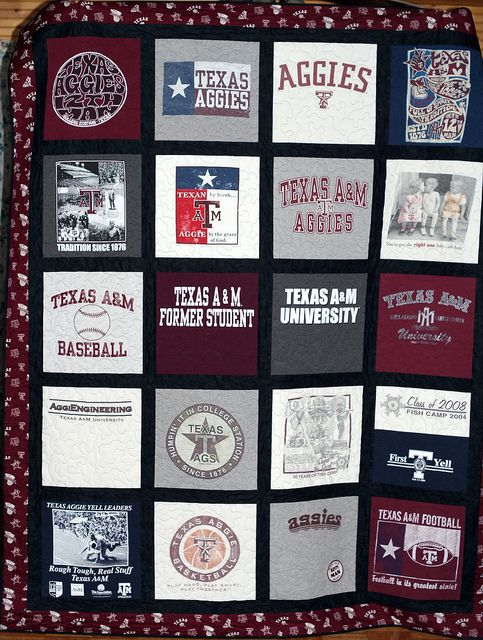 T-Shirt Quilt with single sashing