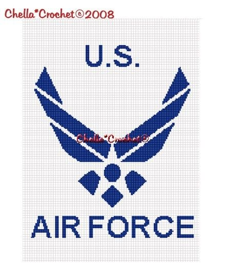 SALE see SHOP for details Chella Crochet United States Air Force Afghan Crochet Pattern Graph Chart .PDF