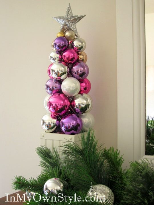 How to make a tabletop Ornament Tree using a knitting needle