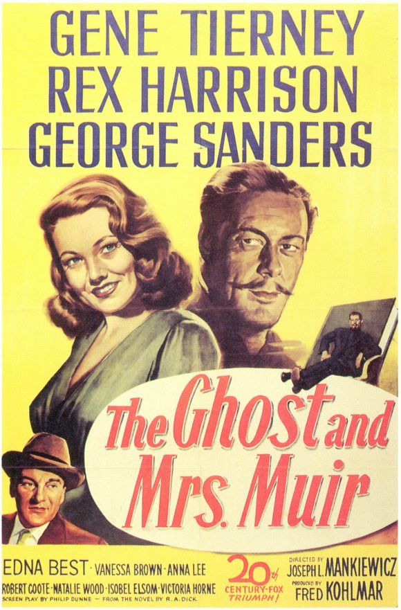 """The Ghost And Mrs. Muir (1947) Joseph L. Mankiewicz's powerful romantic gem, """"rich in human warmth and moments of rare humor,"""" (Variety) brought together screen legends Gene Tierney and Rex Harrison."""
