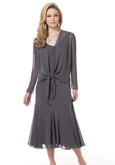 Mother Of The Bride Dresses Tea Length | Line Tea-Length Mother Of The Bride Dress with Sheer Overcoat - Mother ...