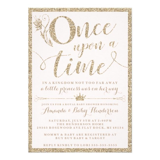 Once Upon A Time Princess Baby Shower Invitation Baby Pregnancy