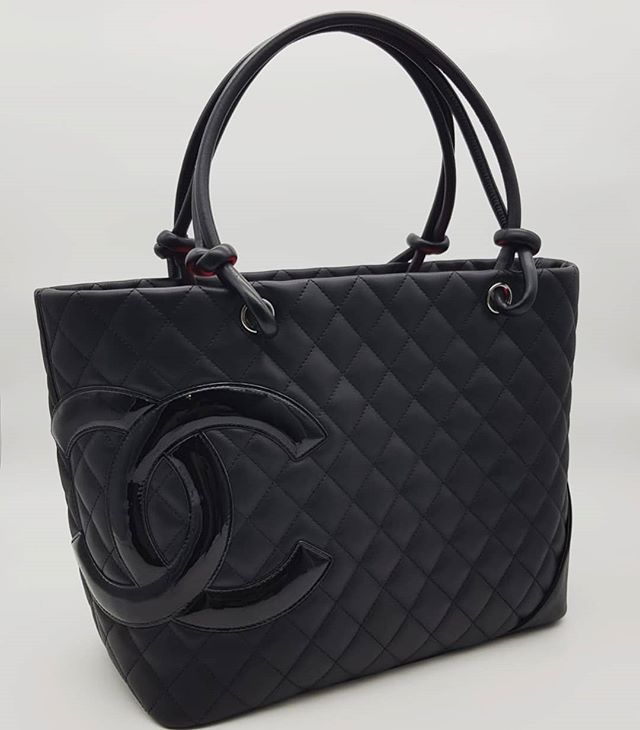 1800 Wire Preloved Chanel Cambon Large Tote Black Pink Calfskin Silver Hardware Serial Code Starting With 151 Full Set No Rece Large Tote Chanel Cambon Tote