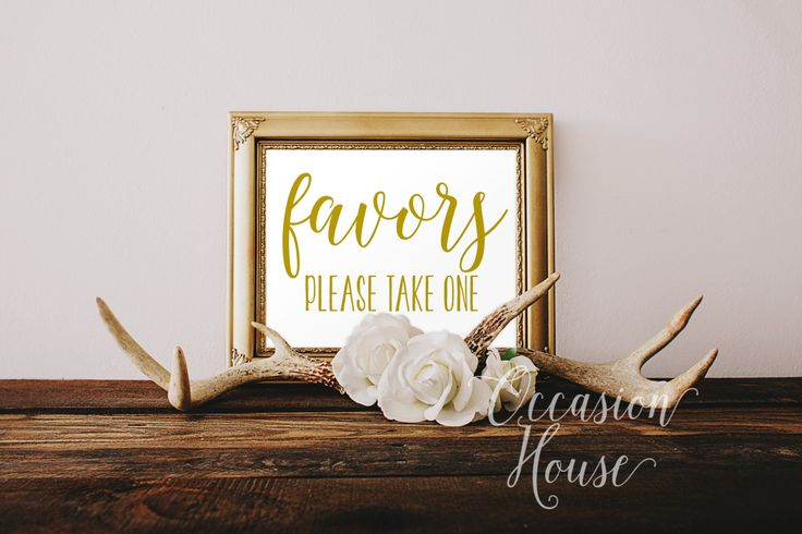 Printable Favors Please Take One 5x7 Wedding Favor Sign Gold Reception Instant Download FP02