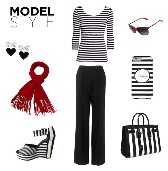 """""""Trendy Black and White Stripes"""" by ohsogirly ❤ liked on Polyvore featuring Whistles, Yves Saint Laurent, Pierre Hardy, Emporio Armani, Magaschoni and Talullah Tu"""