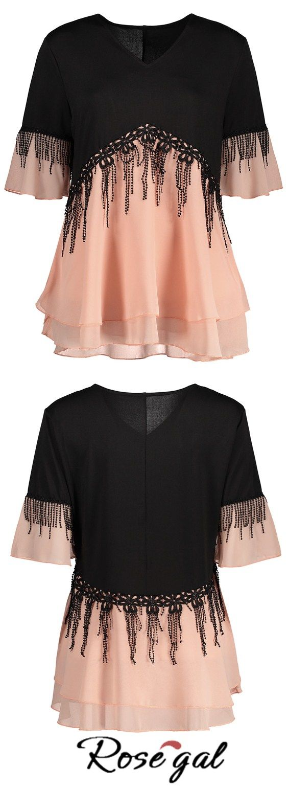 Free shipping worldwide.Plus Size Fringe Color Block Top.#blouses #spring #summer #fashion