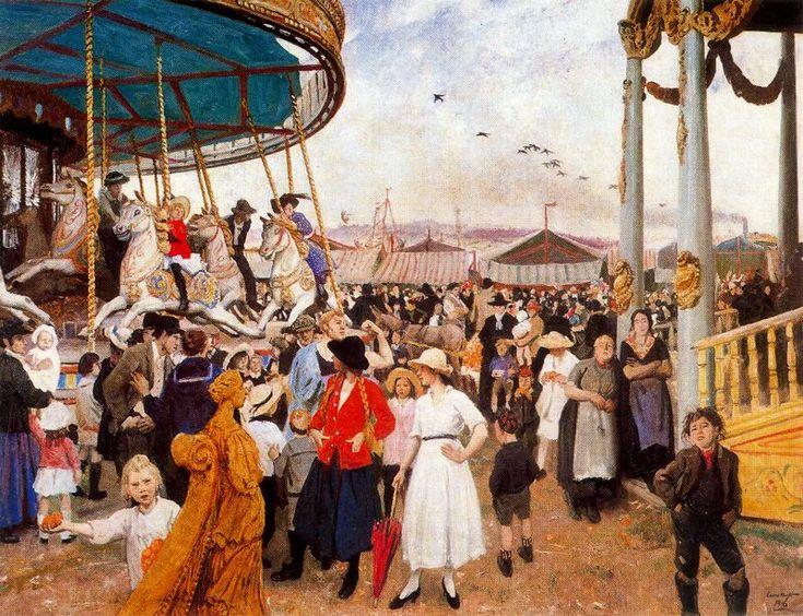 Dame Laura Knight (English, 1877 – 1970), Penzane Fair. http://www.damelauraknight.com/laura-knight-oil-paintings-and-watercolours/