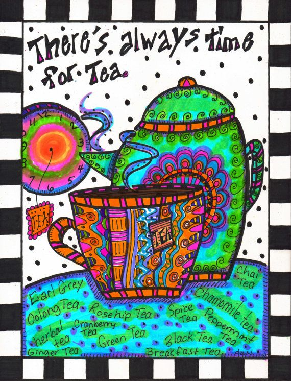 There's Always Time For Tea Original Hippie Art by DawnCollinsArt, $25.00
