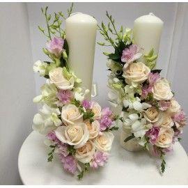 Lumanari nunta scurte frezii si orhidee