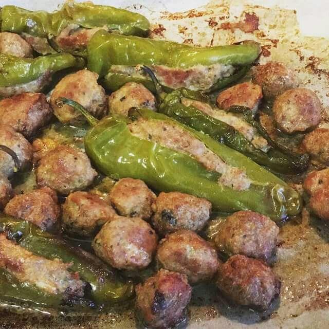 Frigitelle ripiene  con carne di manzo e prosviutto e polpettine al forno