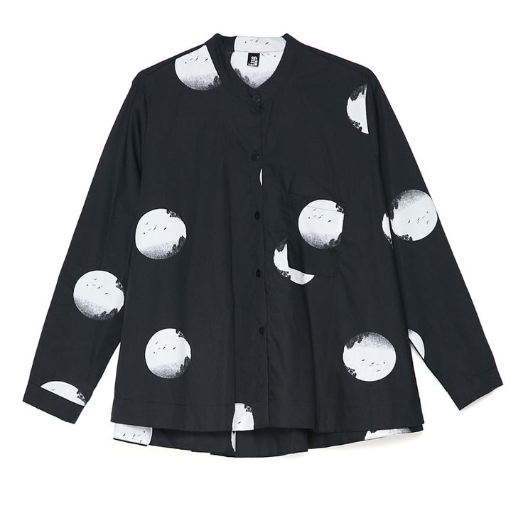 Miting Loose Dot Printed Turn-Down Collar Long Sleeve Women Blouses Cheap - NewChic Mobile.