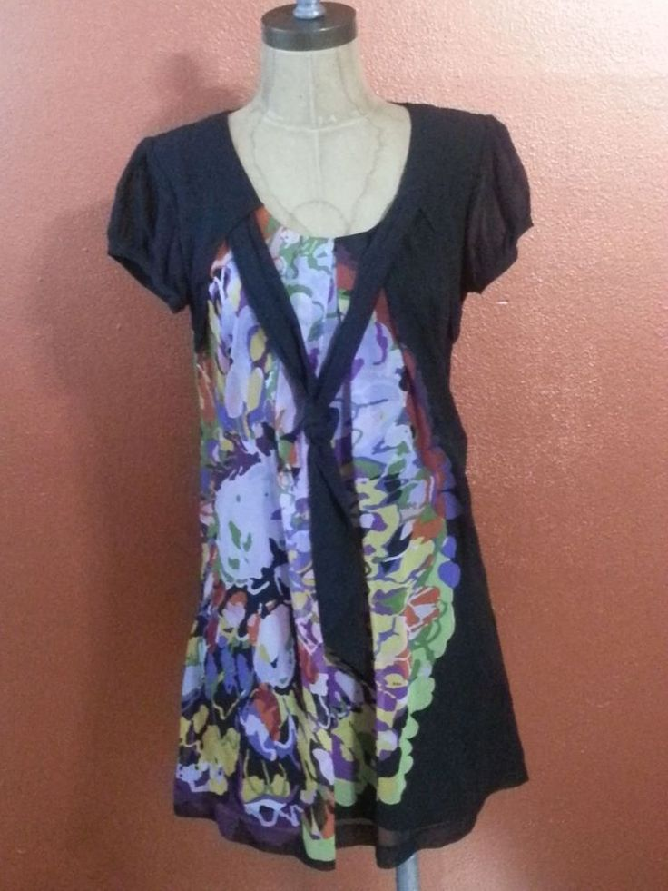#Kensie #Black #Abstract #Floral #Mini 100% #Silk #Shift #Dress Size Small