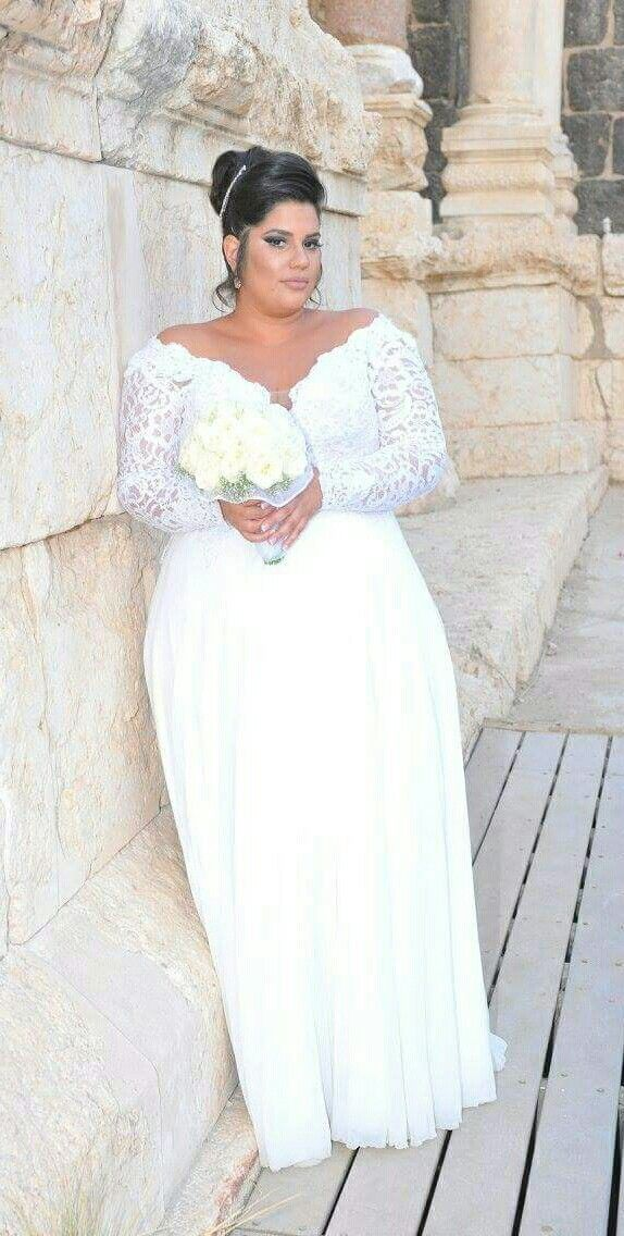 real plus size bride in Prada lace plus size wedding gown ...
