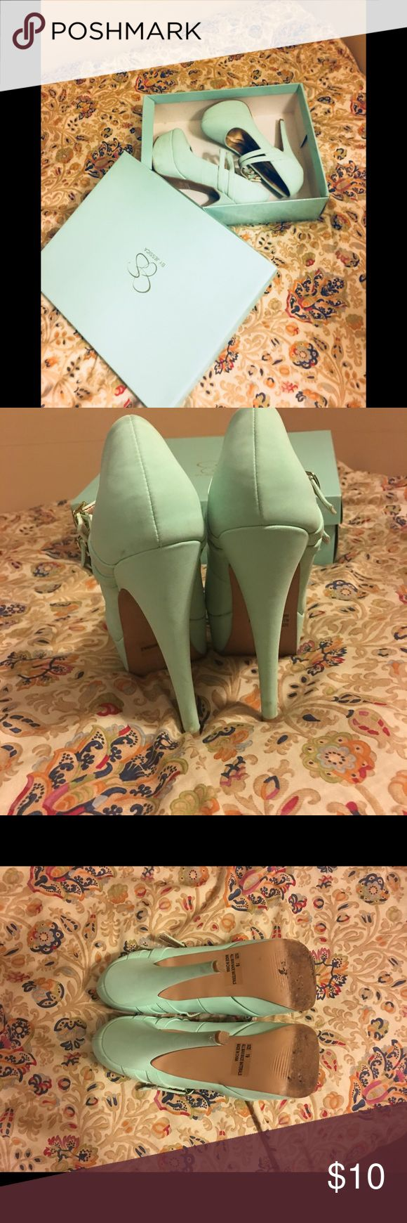 Mint Green Heels 7 1/2 ⚜️👠 Qupid Mint Green Heels 👠 7 1/2 Qupid Brand  *used (tiny smudges on shoes as shown in picture can most likely be carefully wiped off) I only wore these shoes 2 times.  In good condition. *box is Jessica Simpson does not come with it I just stored the shoes in that box since it was mint green. All bundle orders over 5lbs will be canceled 🛍🌿 Qupid Shoes Heels