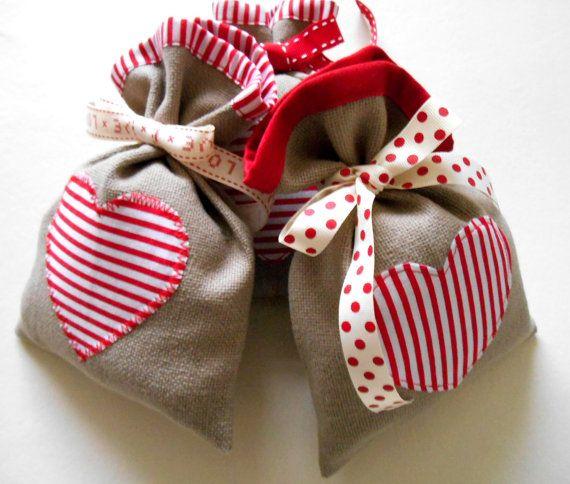 Valentine Fabric Gift Bag Linen with Stripy by HandmadeByEvaRose,