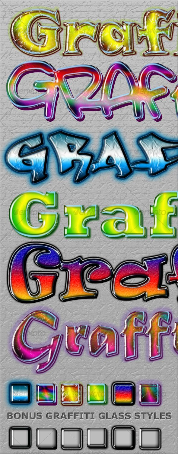 Cool Graffiti Styles  #GraphicRiver         12 Cool photoshop styles with a graffiti touch. In the file: 1 ASL file with 12 Styles 1 PSD file for easy copy and paste 1 Helpfile 1 file where u can download the fonts I used Examples:    Glass Graffiti Style:  Also looks great on thin fonts:       Created: 3October10 Add-onFilesIncluded: LayeredPSD #PhotoshopASL Tags: colorfull #creative #graffiti #graffity #grunge