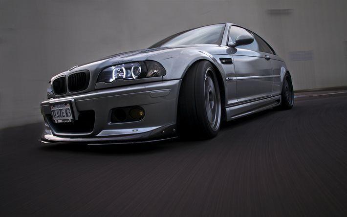 Télécharger fonds d'écran BMW M3, le flou de mouvement, E46, de réglage, de l'argent M3, BMW