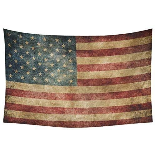 InterestPrint Stars and Stripes USA Flag Wall Art Home Decor Vintage Retro American Flag Background Bule Red Tapestry Wall Hanging Art Sets 60 X 40 Inches