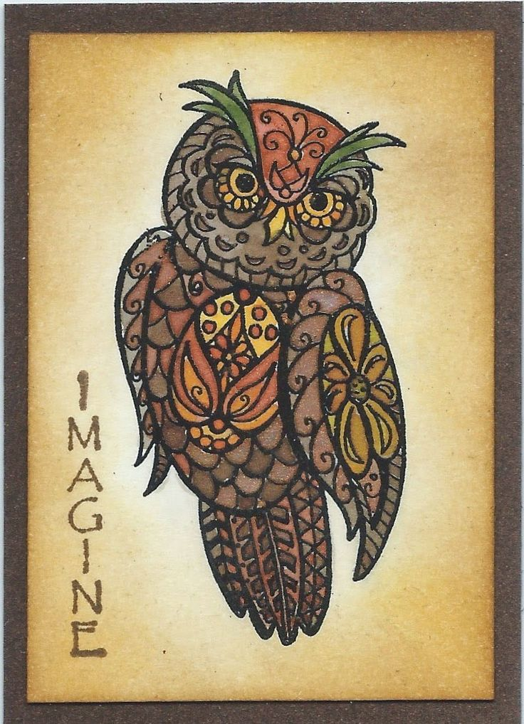 StampTangle Fancy Owl - Small - ATC - Linda DesGroseilliers