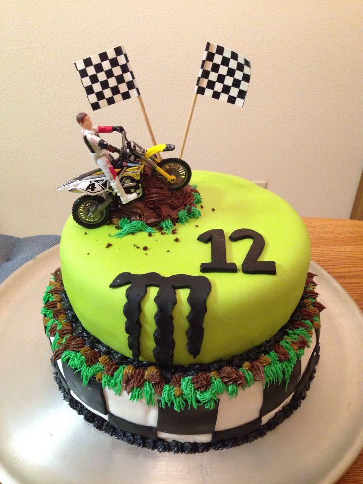 Motocross Cake W Dirt Bike And Monster Energy Logo