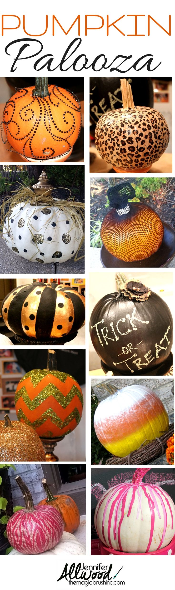 Tons of pumpkin decorating ideas from theMagicBrushinc.com Decoupage, glitter, chalk, chevron, pink, spray paint, fishnet pumpkins and more!
