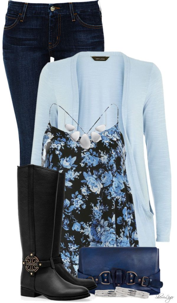 Cute Blue Floral Cami Spring Outfit