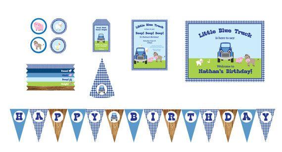 little blue truck party printables; little blue truck party ideas