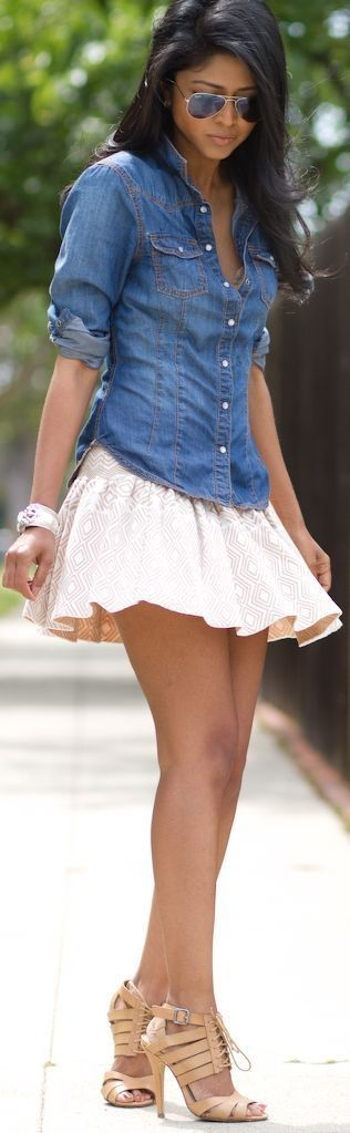 Fashionista: Summer Clothes - jean shirt and mini flare skirt. Wish I could pull this outfit off!