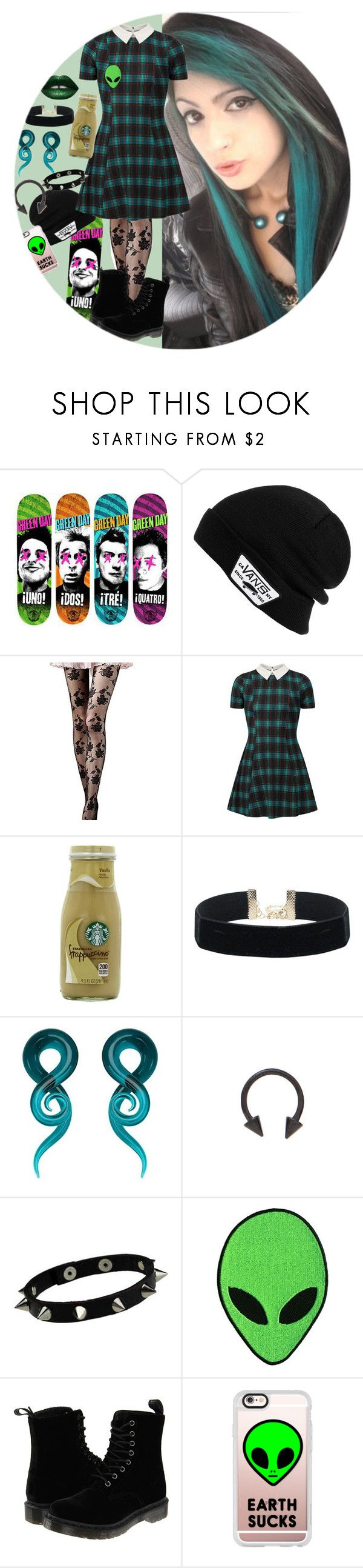 """Teal And Green"" by chemicalfallout249 ❤ liked on Polyvore featuring Vans, Cameo Rose, Starbucks, Dr. Martens and Casetify"