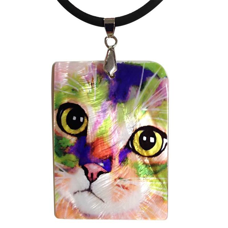 Kauhi Eyes Cat Art Mother of Pearl Jewelry Pendant Necklace by Claudia Sanchez