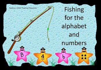 Fishing for pirate starfish.  A great reinforcement activity for recognising upper and lower case letters of the alphabet and numbers 1-10. Make a fishing pole using a stick, string and magnet. Attach a paper clip to the starfish and voil! Its time to go fishing.