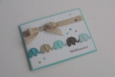"Baby Karte Geburt Junge ""Elefantenparade"""