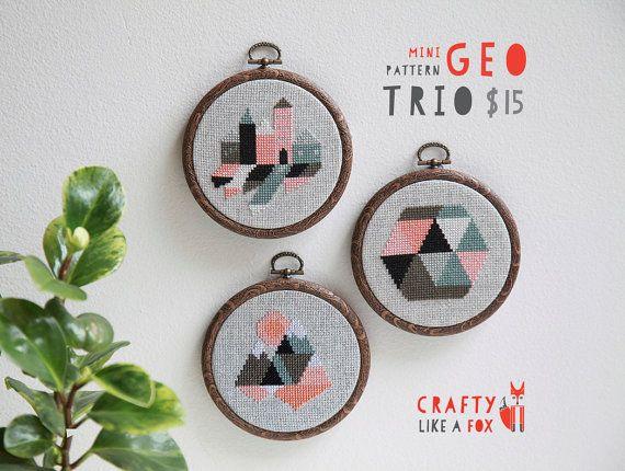 Geo Trio modern cross stitch pattern PDF downloads - three easy geometric patterns to download instantly