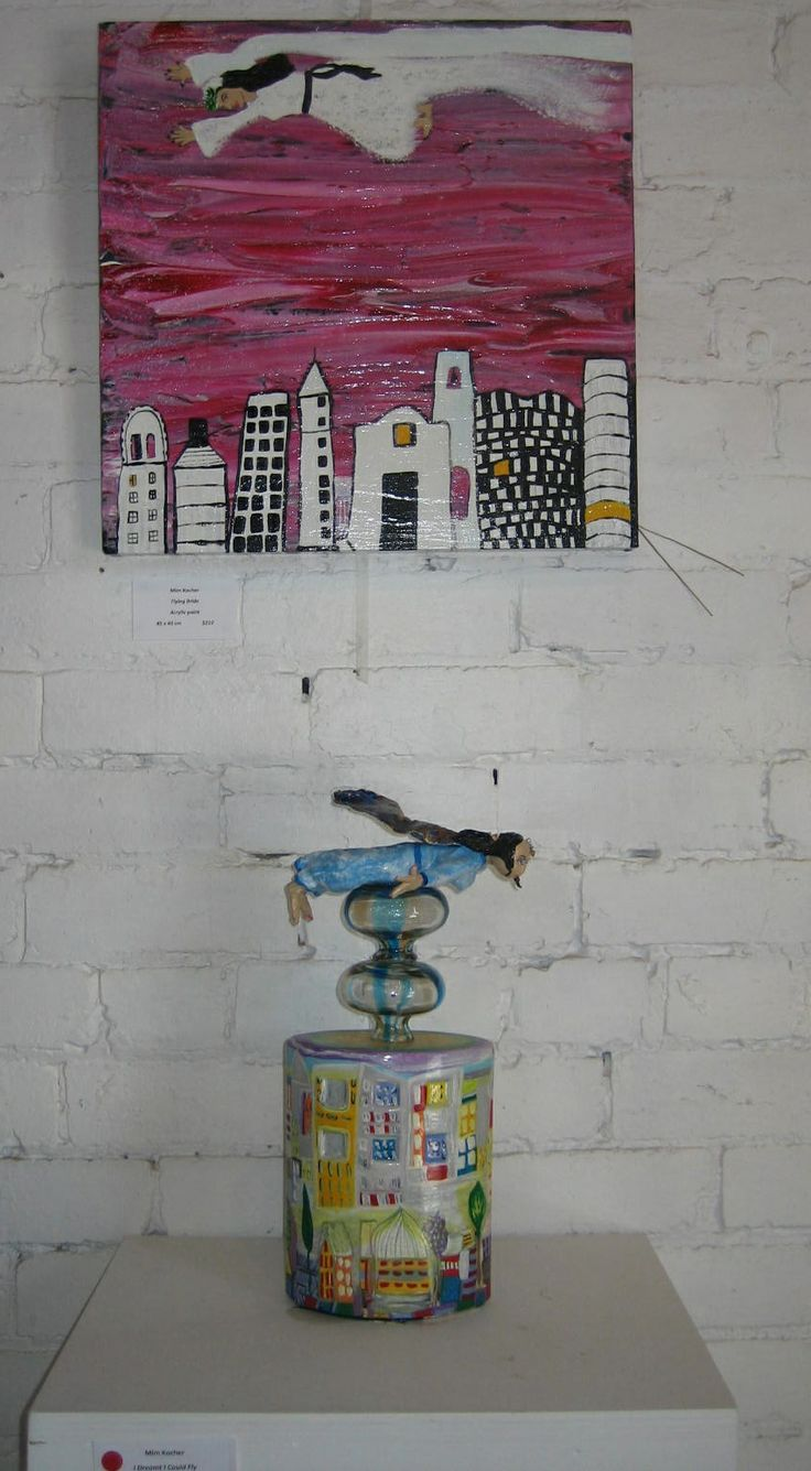 Mim kocher Flying Woman painting and sculpture. 'On and Off the Wall' exhibition held at Yering Station 2012.