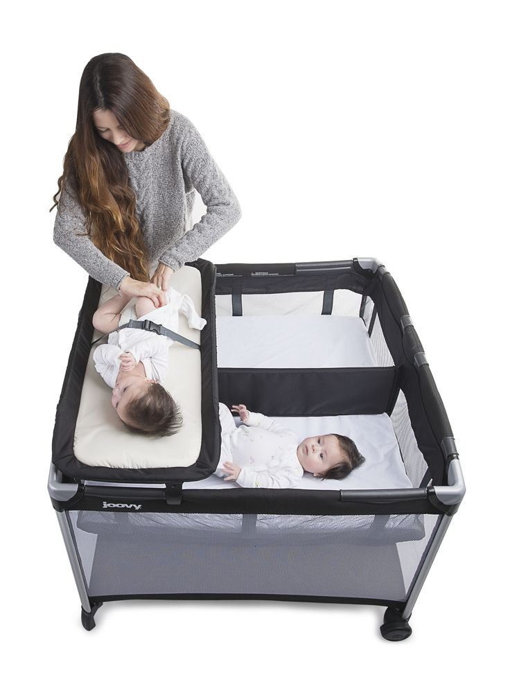 The Room² Twin Nursery Center is the perfect accessory for the Room² playard. This practical accessory is easy to install, and it is great for use with one baby, twins, and multiples. It has a large bassinet ready to hold twins up to 15 lbs each, or 30 lbs total.