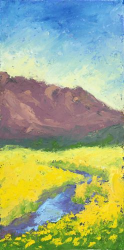 Doney Park Sunflower Study, oil, 16in x 8in