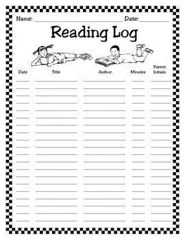 Monthly Reading Logs for Kindergarten | Monthly Reading Log