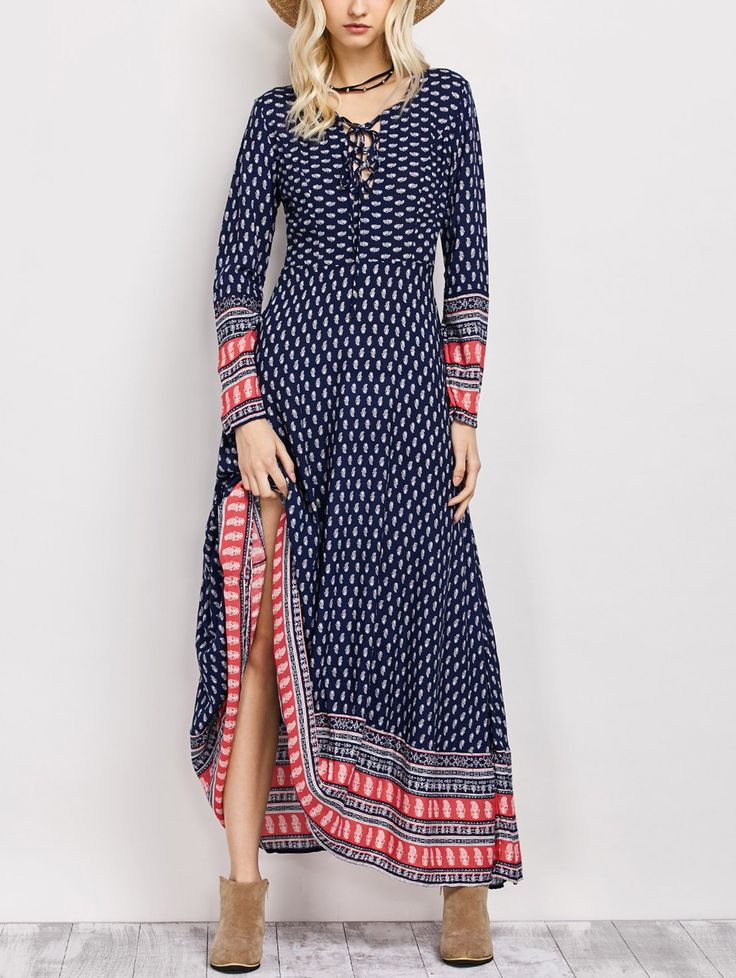 Lace Up Long Sleeve Retro Print Maxi Dress in Blue | Sammydress.com