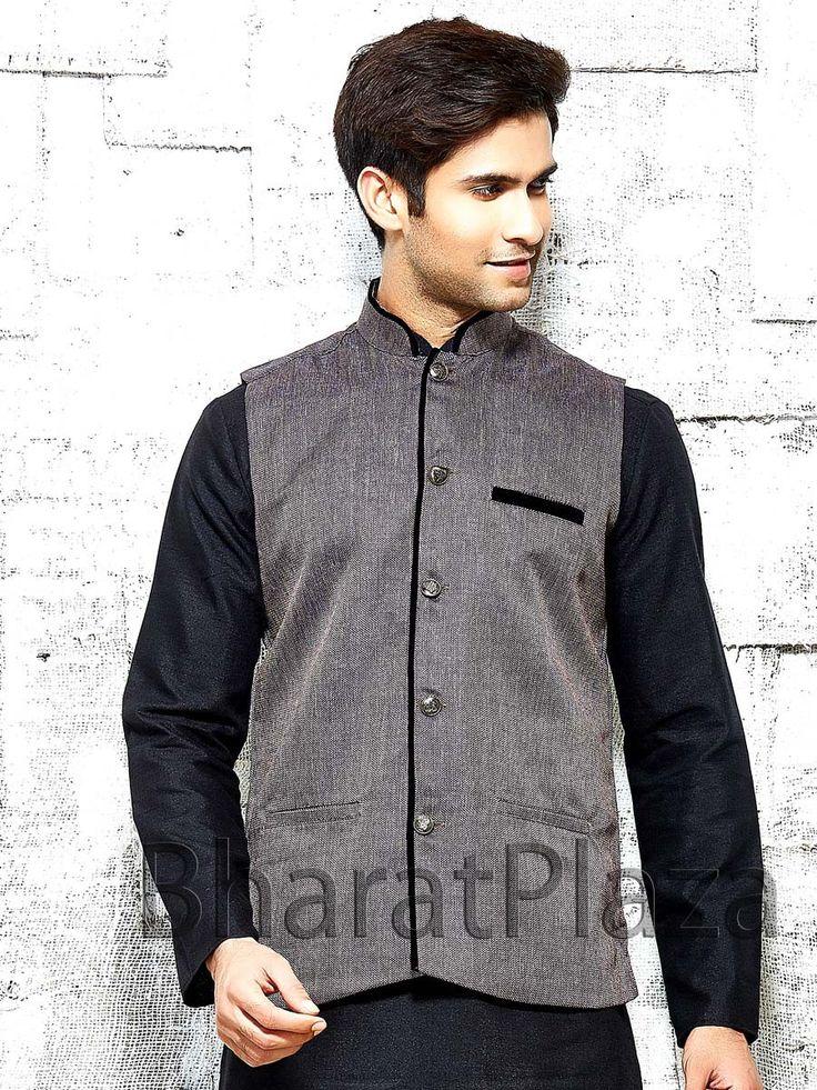 Pleasing grey color jute nehru jacket. Item Code: NJI1001PU