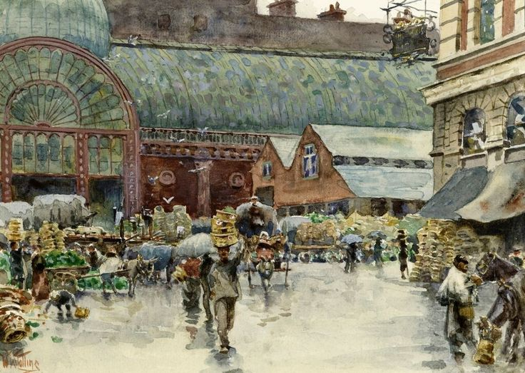 Covent Garden Market on a Rainswept Saturday at Noon. Watercolour, by William Wiehe Collins, c. 1910, private collection